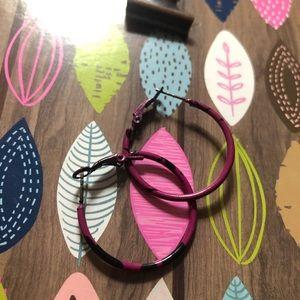 2 pairs Pink Hoops Hot Pink& Pink w/Black speckles